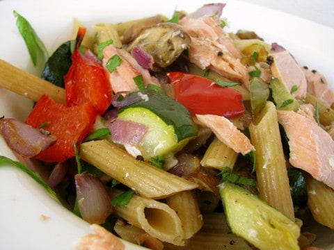 Wild Salmon And Veggie Pasta
