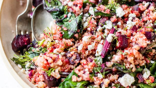 quinoa beet salad in wide shallow bowl