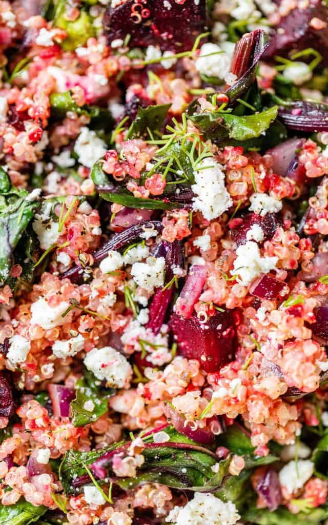 salad with beets, quinoa and feta cheese