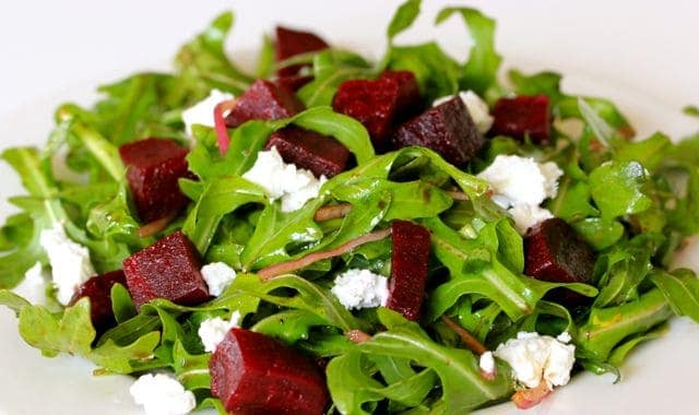 Beet Arugula Goat Cheese Salad
