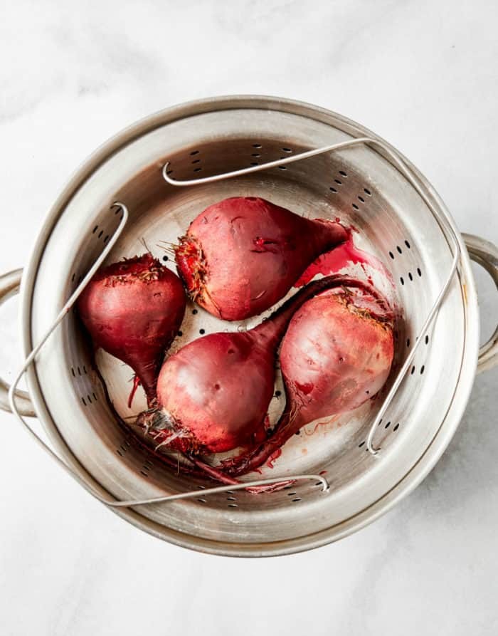 steamed beets in a steamer pot