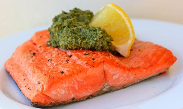 Pan Seared Salmon With Kale Pesto