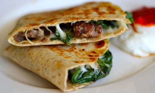 Steak and Spinach Quesadilla - Clean & Delicious®