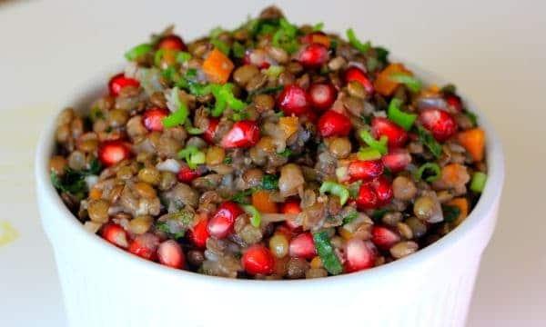 Warm Lentil Salad Speckled W/ Kale and Pomegranate Seeds ...
