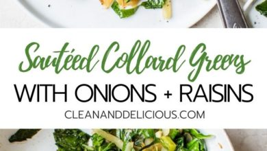 how to make collard greens with onions and raisins