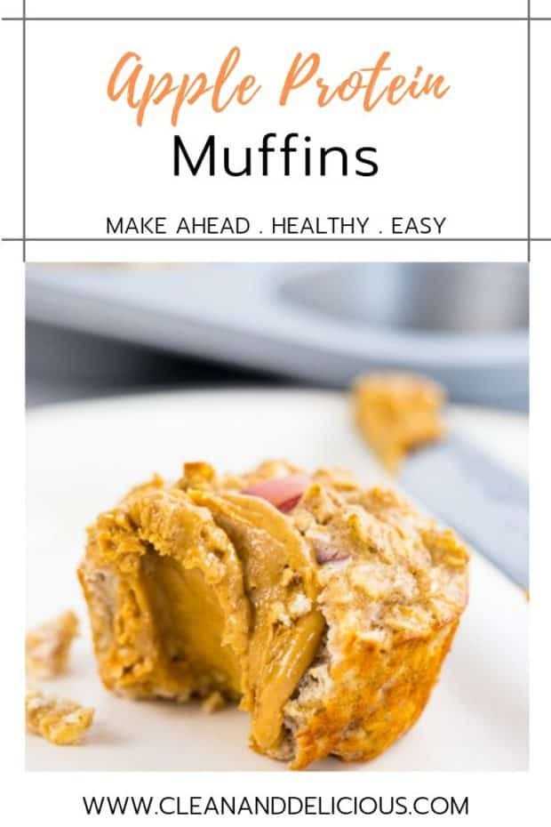 apple protein muffin served with almond butter
