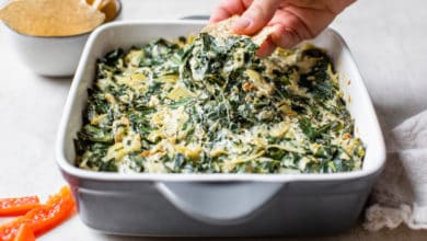 fresh baked artichoke and collard greens dip