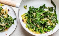 sauteed collard greens with onions and raisins