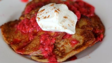Almond Raspberry Pancakes