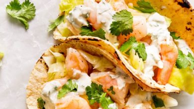 shrimp tacos on corn tortillas