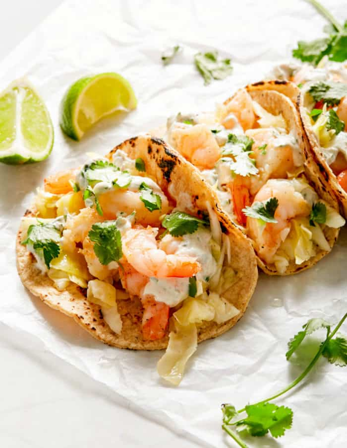 shrimp tacos with creamy cilantro sauce
