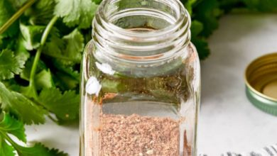 homemade taco seasoning in a small glass spice jar