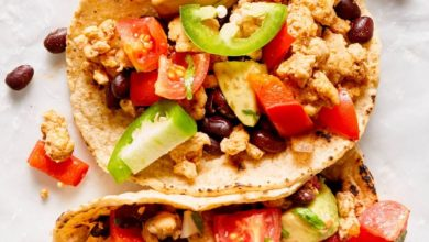 seasoned ground turkey served in corn tortillas with taco toppings