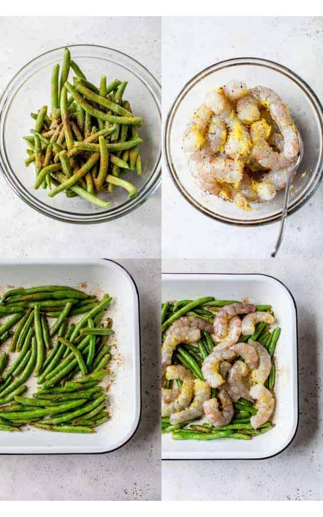 steps to making roasted shrimp and green beans