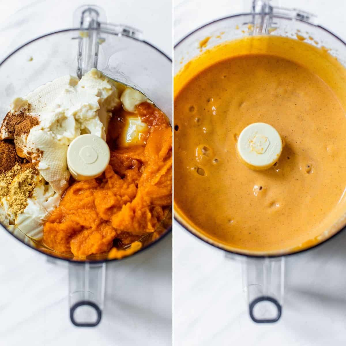 making pumpkin mousse in a food processor