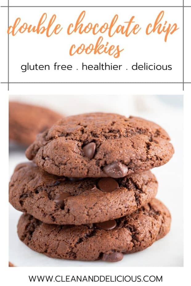 stacked gluten free double chocolate chip cookies