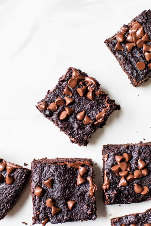 brownies made with avocado and topped with chocolate chips