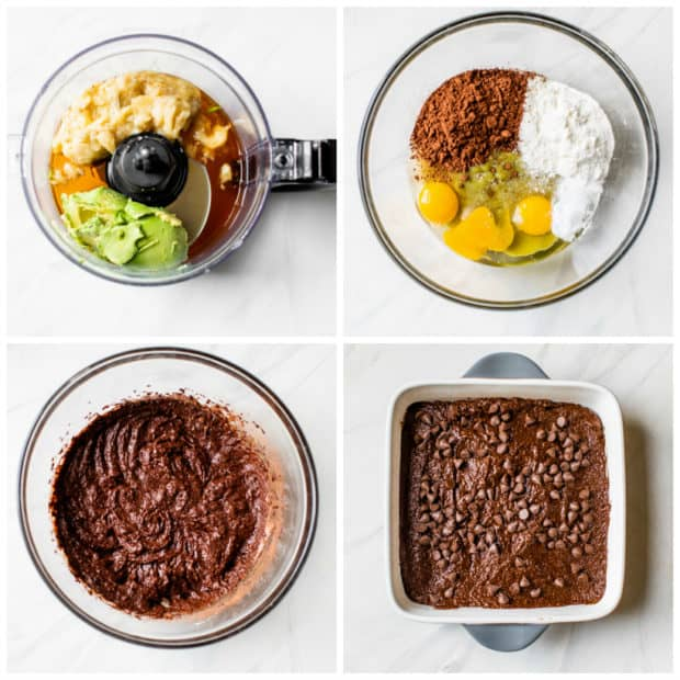 visual instructions for making avocado brownies