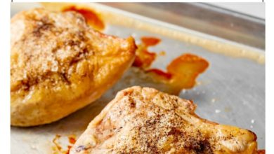 baked bone-in chicken on a baking sheet