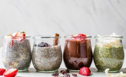 chia pudding with a variety of toppings