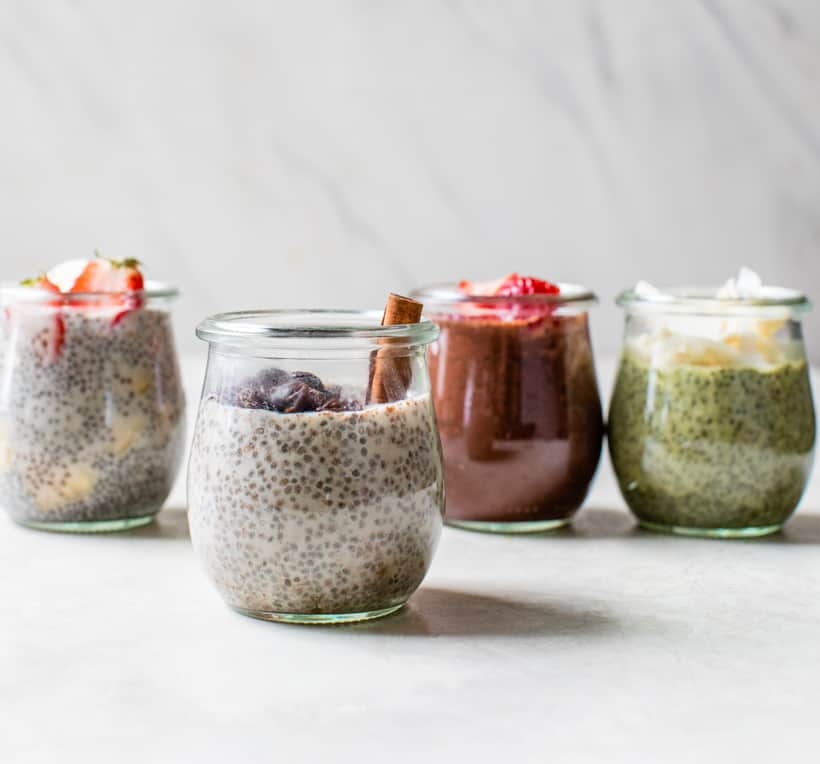 four flavors of chia pudding