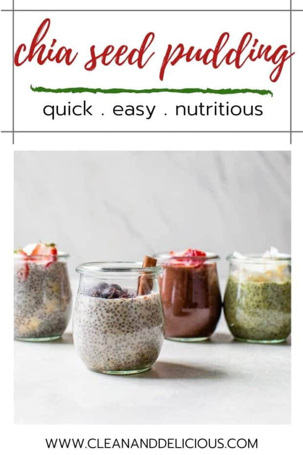 jars of different flavors of chia seed pudding