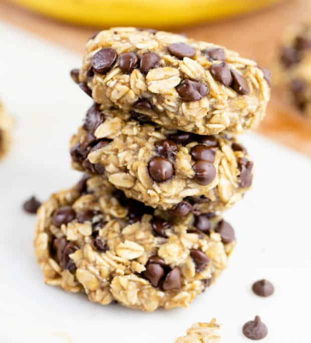 3 oatmeal cookies with chocolate chips stacked