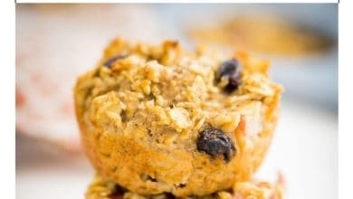 2 apple oatmeal muffins stacked