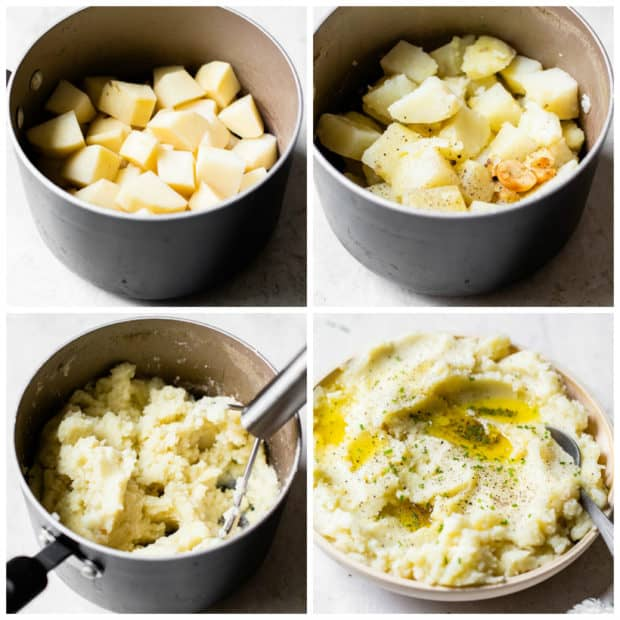 step by step instructions for making garlic mashed potatoes