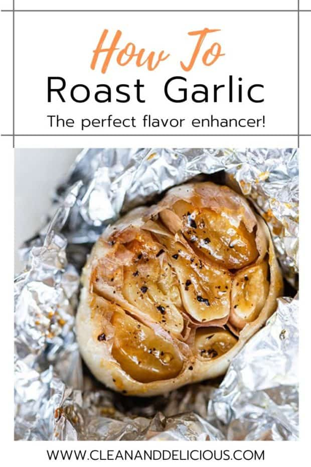 roasted garlic bulb in a piece of foil