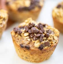 Banana Oatmeal Muffins topped with chocolate chips