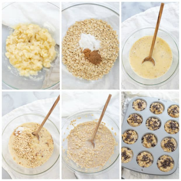 steps for making banana oatmeal muffins
