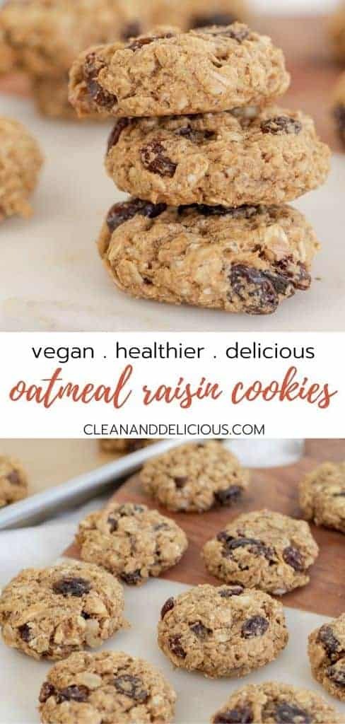 vegan oatmeal raisin cookies stacked on top of each other