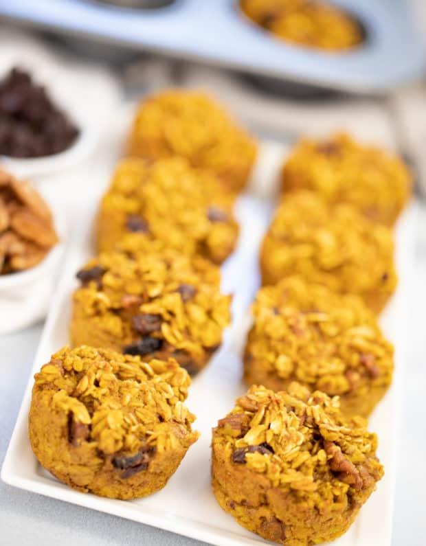Pumpkin Oatmeal Muffins on a white serving platter
