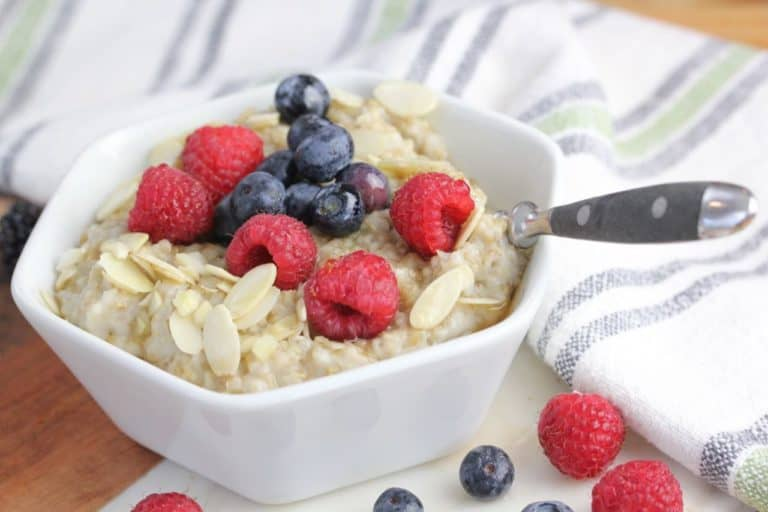 bowl of steel cut oats topped with berries
