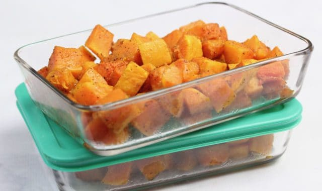 roasted butternut squash prep