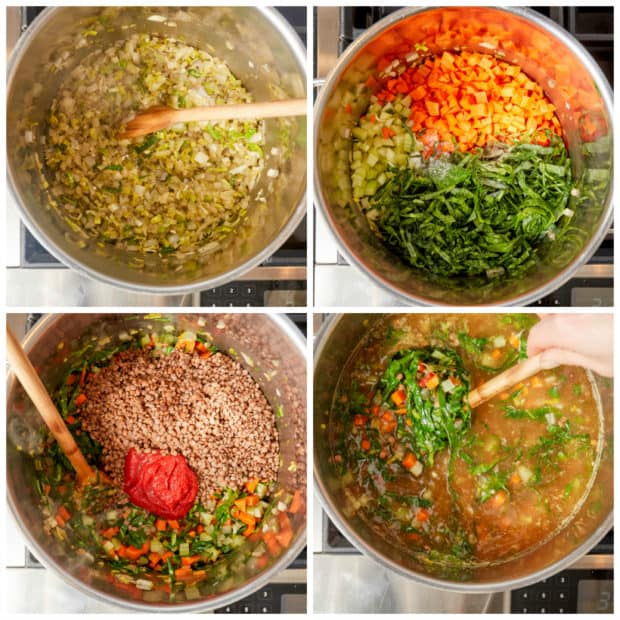 photo instructions showing how to make lentil soup