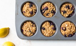 fresh baked blueberry lemon oatmeal muffin cups