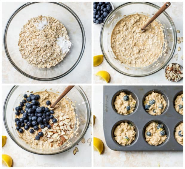 step-by-step how to make blueberry oatmeal muffins