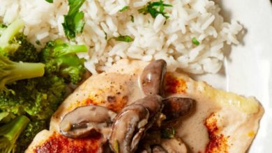 flavorful oven baked chicken breast topped with sautéed mushrooms