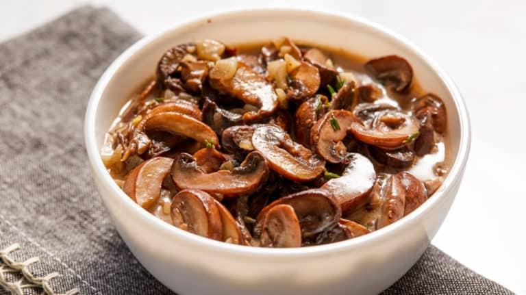 creamy mushrooms in bowl
