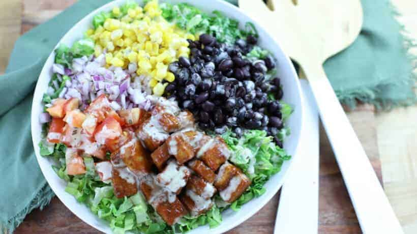 chopped romaine topped with corn, black beans, red onion, tomatoes, and bbq tofu drizzled with ranch dressing.
