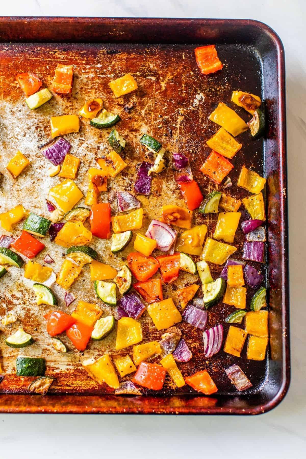 roasted veggies on a baking sheet pan