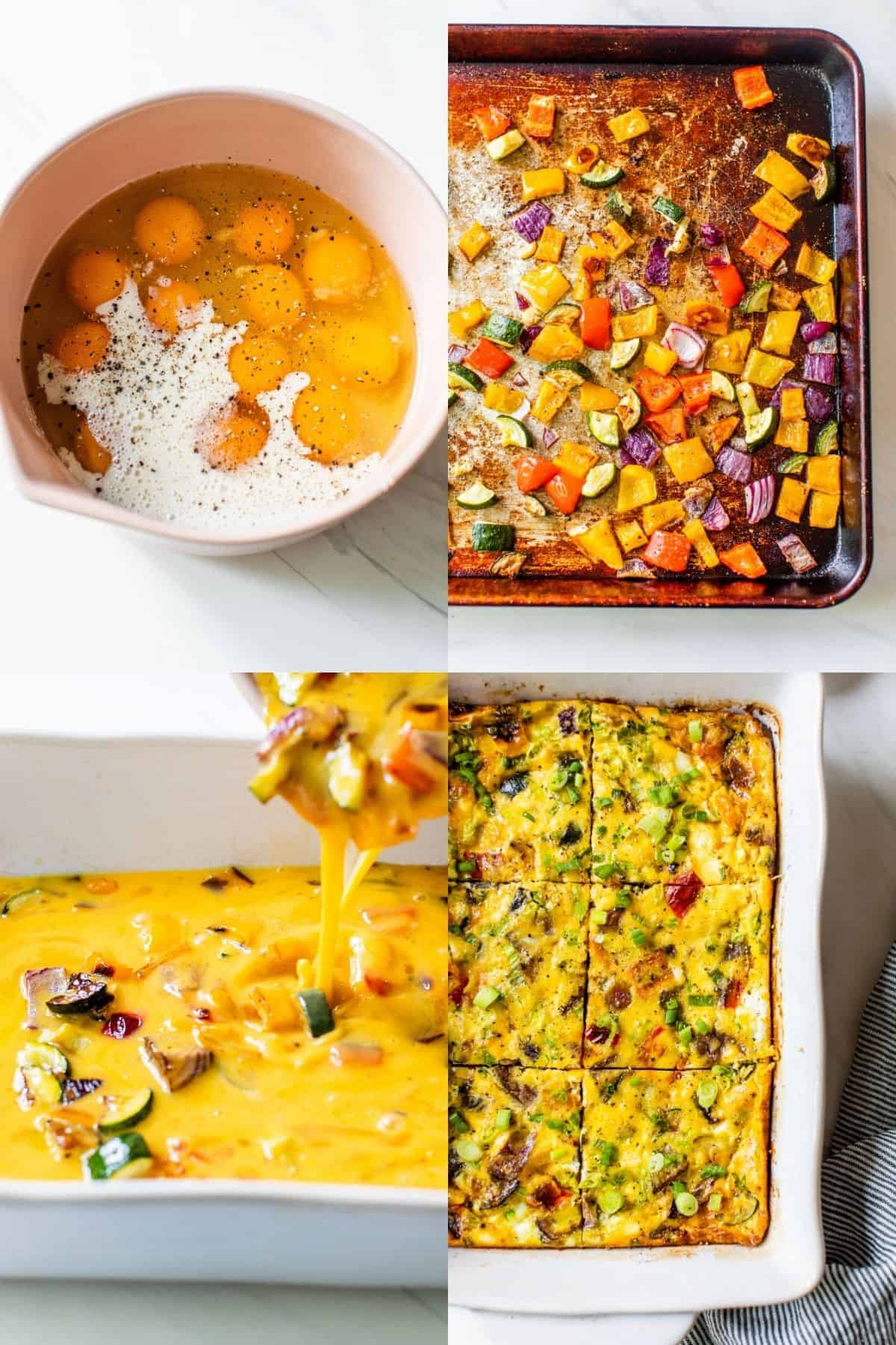 mixing eggs with veggies to make a vegetable frittata