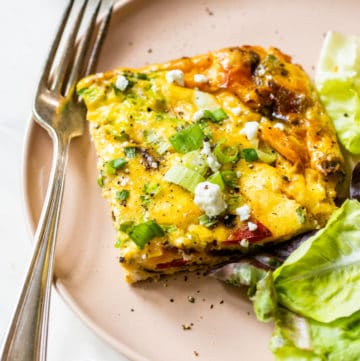 vegetable frittata cut on a plate