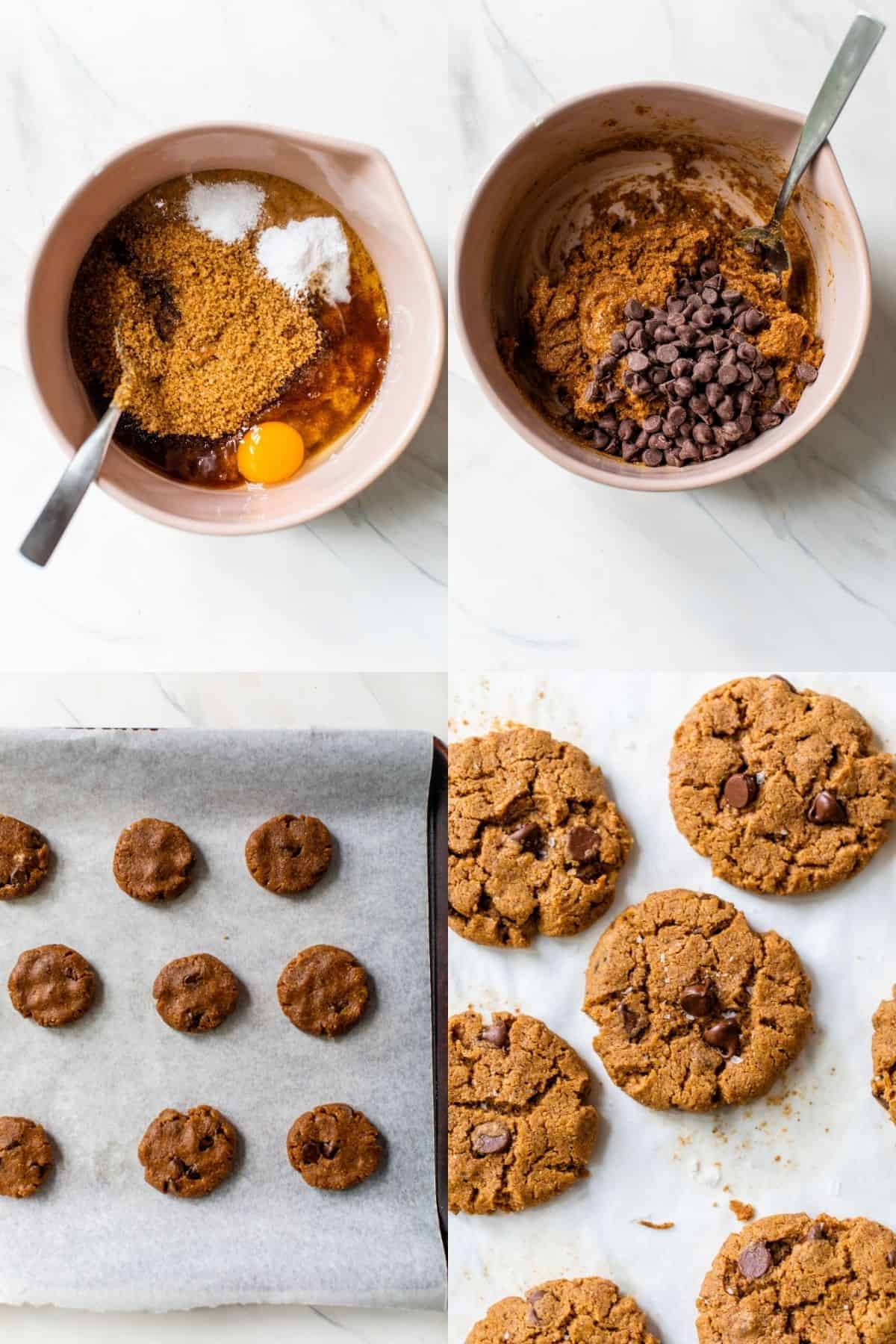 showing how to make gluten-free chocolate chip cookies