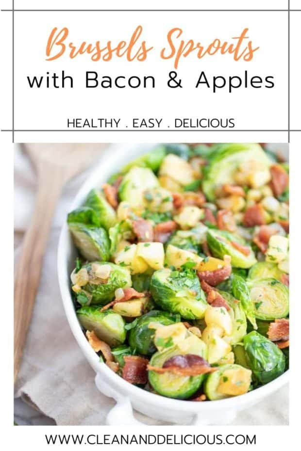 a white dish with a Brussels sprouts and bacon side dish