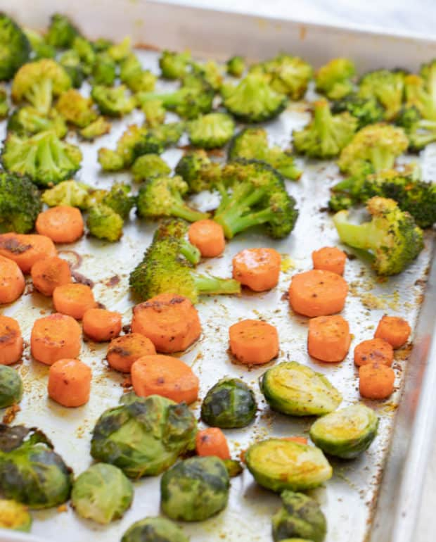 roasted veggies on baking tray
