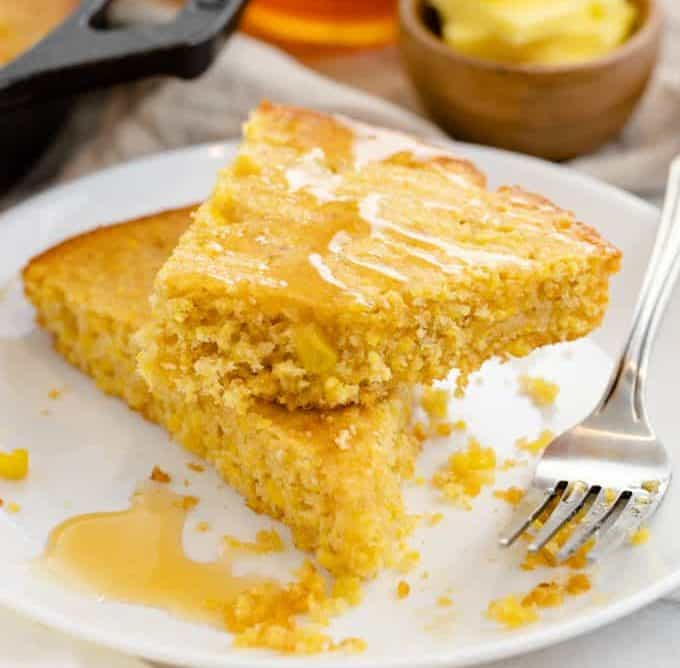 cornbread topped with honey