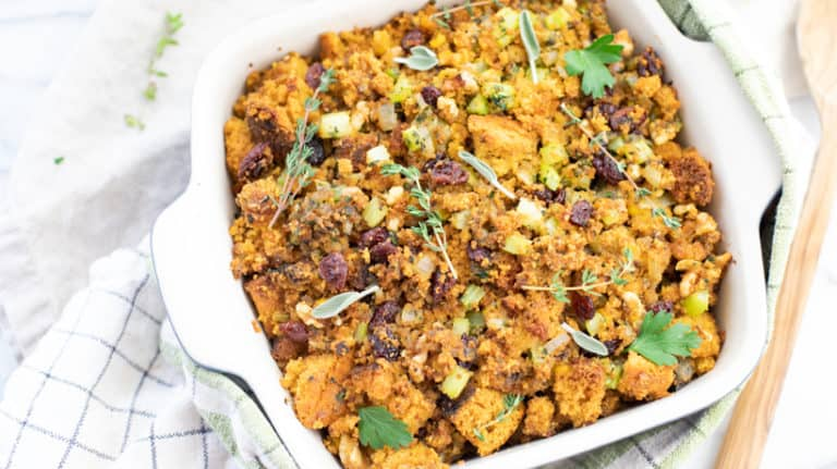 cornbread stuffing in 9x9 baking dish